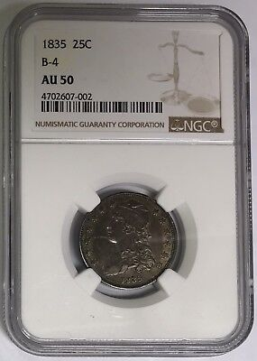 1835 Capped Bust Silver Quarter, B-4, AU50 NGC
