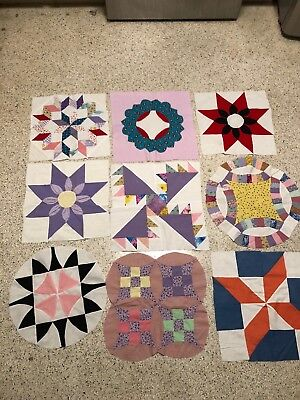 9 Amazing Large Hand Pieced Vintage Quilt Blocks