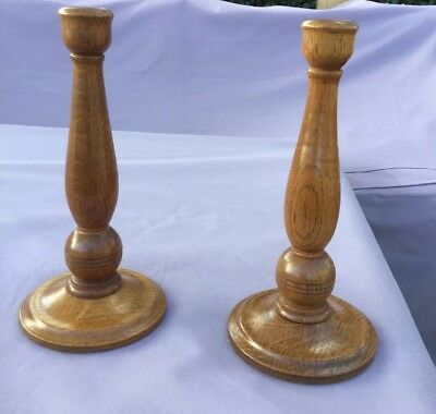 Pair Of Vintage Oak Candlesticks, In Excellent Condition.