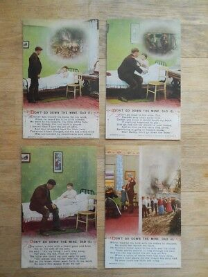 Set of 4 x Bamforth Song Postcards 'Dont Go Down The Mine Dad' Pit Disaster