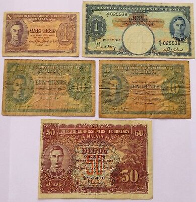 Five 1941 Malaya and Straits Settlements States Notes, Dollar+ Malaysia (080937