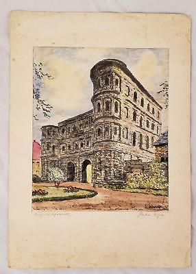 """Vintage/antique Watercolor Over Litho Of The """"black Gate"""" In Rome, Porta Nigra"""