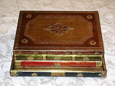 Lovely FLORENTINE Gilt Stacked Book Shaped Box Rare Shabby Chic FLORENTIA Italy