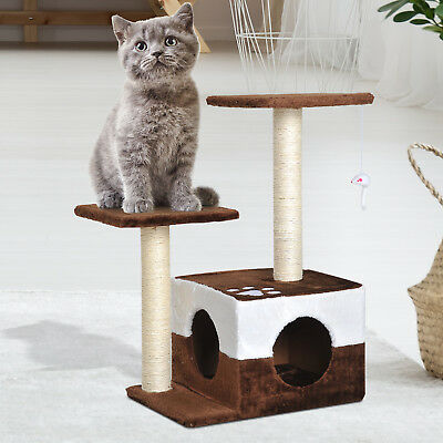 """28"""" Cat Tree Scratcher Kitty Condo House Furniture Brown"""