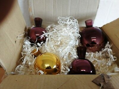 4 Mirrored Coloured Glass Witches Balls Vintage Hand Blown