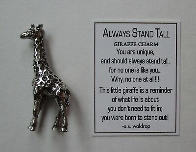 H ALWAYS STAND TALL giraffe Pocket charm figurine Ganz stand out confidence mini