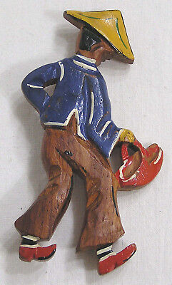 Vintage Jewelry Wood Brooch Figural Asian Man with Basket 1940s
