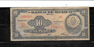 Mexico Mexican #58K 1965 10 Peso Old Banknote Paper Money Currency Bill Note