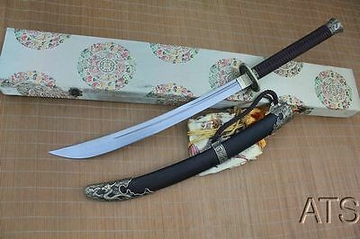 Hand Forged Chinese Dragon Folded Steel Broadsword Dao Sword Box & Bag Included