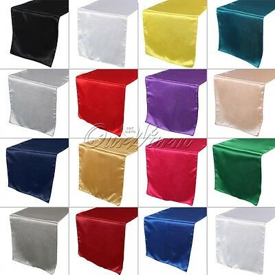 20×Satin Table Runner Runner Cloth Chair Swags Wedding Party Banquet Table Decor