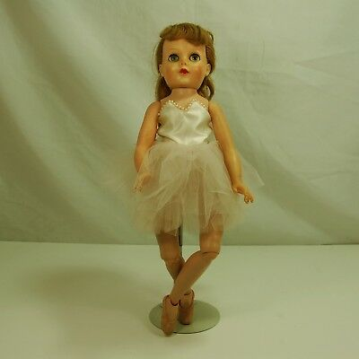 """1950's Ballerina doll w/ Trimmed Gold Tutu by Eegee  18"""" tall"""