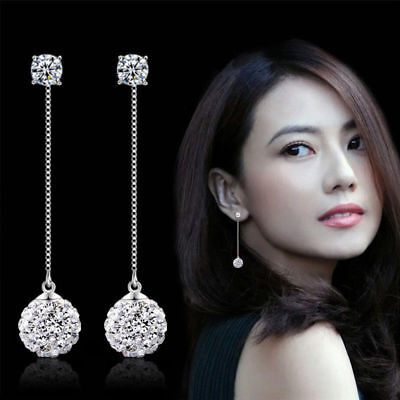 2018 Women 925 Sterling Silver Full Zircon Crystal Long Ear Stud Dangle Earrings