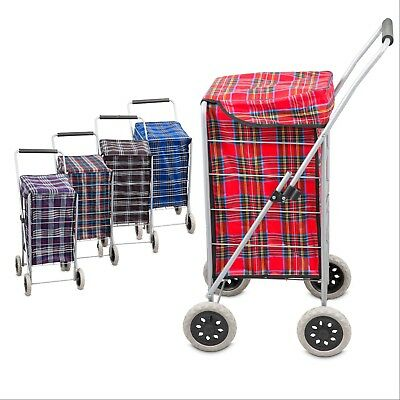 4 Wheel Folding Shopping Mobility Trolley Bag Cart Market Laundry Flat Fold Cage
