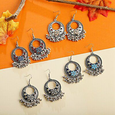 Women's Bohemian Vintage Antique Tribal Ethnic Indian Small Bell Drop Earrings