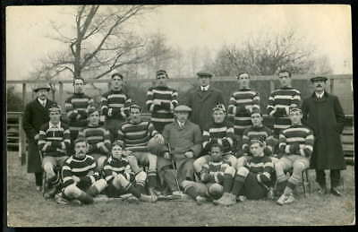 TAUNTON RUGBY FOOTBALL CLUB XV. With famous Zulu player RICHARD MSIMANG 1910 RP