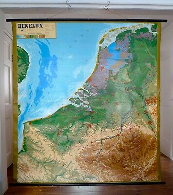 "LARGE VINTAGE 1960s 3D ""BENELUX"" RUBBER SCHOOL MAP Relief-Technik Ernst Knoll"