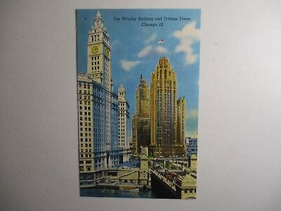 Old Postcard, CHICAGO, ILLINOIS, THE WRIGLEY BUILDING AND TRIBUNE TOWER