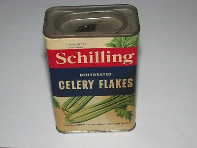 Vintage Schilling Dehydrated Celery Flakes Tin,