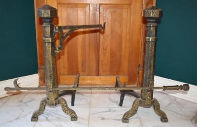 Fabulous Rare Antique Arts & Crafts Hammered Brass Iron Over Sized Andiron Pair