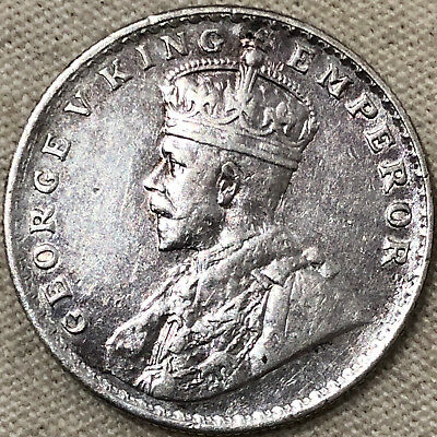 1918 India King & Emperor George V One Rupee Silver Coin