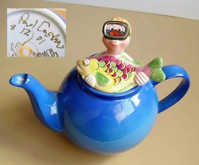 Rare PAUL CARDEW **POTTS FAMILY** TEAPOT Johnny Pots Takes a Dive SIGNED & DATED