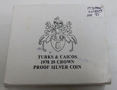 1978 Turks and Caicos 20 Crown Proof Silver Coin