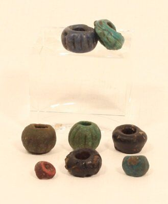Ancient Egyptian core glass and faience melon bead group lot