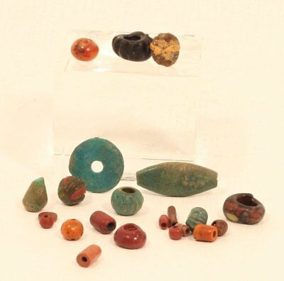 Ancient Egyptian and Roman faience and glass bead group