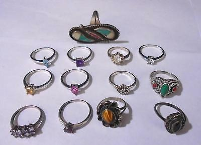 Lot Of 13 Assorted Sterling Silver Rings. 43.5 Grams Total Weight. TESTED. (430)