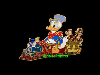 TRAIN ENGINEER Donald Duck with CHIP 'n DALE Disney Auctions 2004 LE Pin