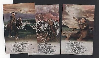 """Bamforth Song Card Set 4898.1,2,3."""" The Trumpeter  """" Soldier,unused"""