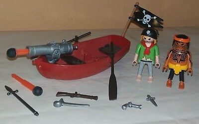 PLAYMOBIL PIRATEN MIT RUDERBOOT groß KANONE + WAFFEN / Piraten Figuren