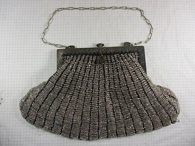 Antique Silver Opalescent Ornate Glass Micro Bead Cocktail Purse Snap Locking
