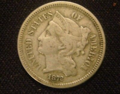 1872 Three Cent Nickel Original Type Coin No Reserve Auction