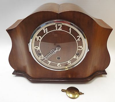 Vintage WOODEN MANTLE CLOCK With German Movement - M17