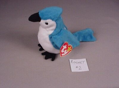 Ty Beanie Baby Babies Rocket Blue Jay Bird Mint with Tags MWT NWT 1997-1998  #2