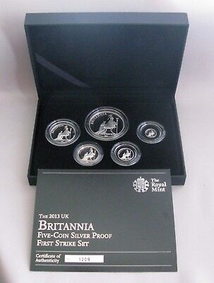 2013 UK BRITANNIA (5) Five-Coin Silver Proof First Strike Set with COA#1209;G132