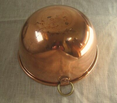 "Spun Copper Mixing / Beating Bowl Rolled Edge, Brass Hanger 10"", 3.5 Qt Vintage"