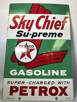 Vintage 1960 Sky Chief Supreme Texaco Gasoline Petrox Porcelain Sign Advertising