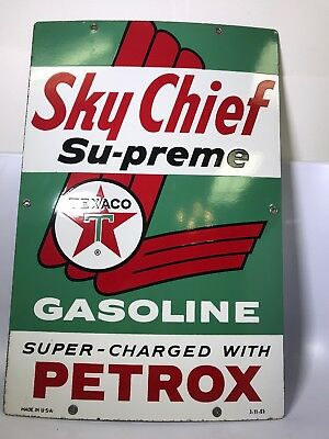 Vintage 1963 Sky Chief Supreme Texaco Gasoline Petrox Porcelain Sign Advertising