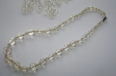 Vintage Very Pretty Clear Crystal Glass Necklace
