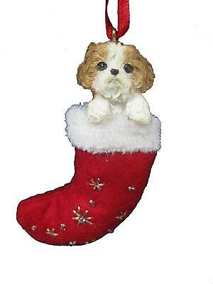 SHIH TZU Tan & White Puppy in a Stocking Christmas Ornament-Santa's Little Pals