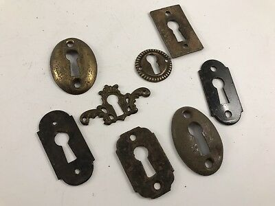 8 Vintage Antique Mixed Metal Door & Drawer Keyhole Covers Escutcheons