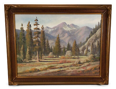 Vintage Landscape Oil Painting Mountains Trees Pie Crust Frame California Art