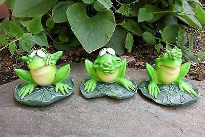 No Evil Frogs See Speak Hear No Evil Resin W.Stratford 4 in.New Garden Ribbitz
