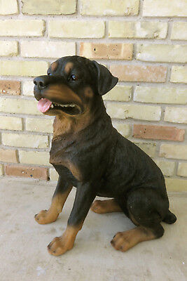 "Rottweiler Dog Sitting Figurine Statue Resin Pet 21"" H Brown Black Ornament New"