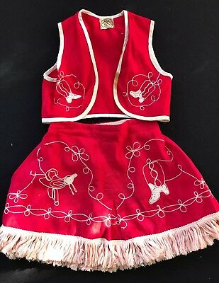 Vintage Red & Off White Tex Son Little Girl'S Cowgirl Vest & Skirt With Fringe