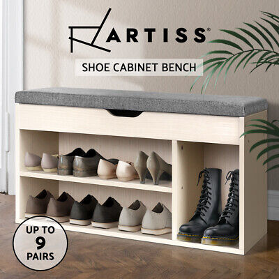 Artiss Shoe Cabinet Bench Shoes Organiser Storage Rack Shelf Cupboard Wooden Box