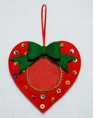 """Hand Crafted 4.5""""  Red Felt Heart Jeweled Sequined Christmas Photo Ornament"""