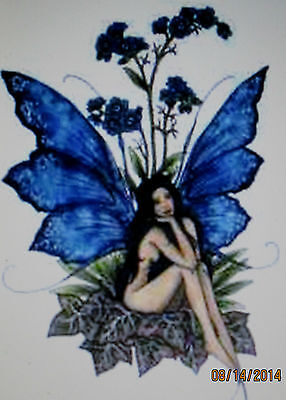 """Amy Brown Forget Me Not Fairy Embroidered Patch 2 7/8"""" X 4 1/4"""" New"""